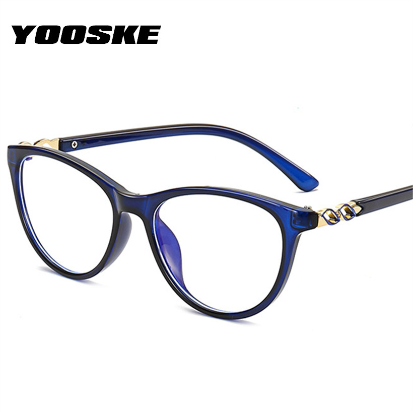 YOOSKE Vintage Anti Blue Ray Glasses Frame Women Reading Goggle Blue Light Blocking Lens Computer Transparent Optical Eyewear