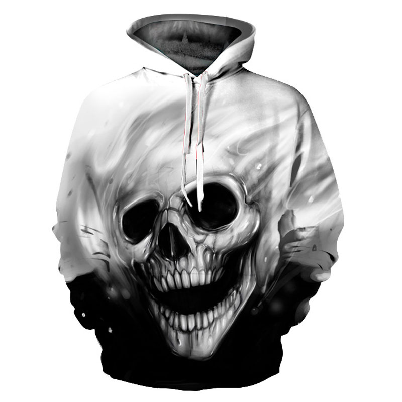 Black and White Color Skulls 3D Hoodies For Men/Women Fashion Long Sleeve 3D Hooded Hoodies Thin Autumn Tracksuits