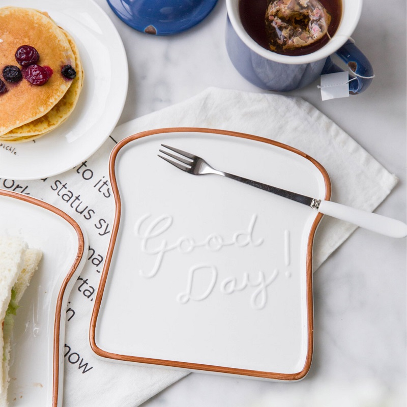 6.5 Inch Ceramic Breakfast Plate Bread Graffiti Border Toast Shape Board Lunch Kitchen Tableware Porcelain Camera Artifact