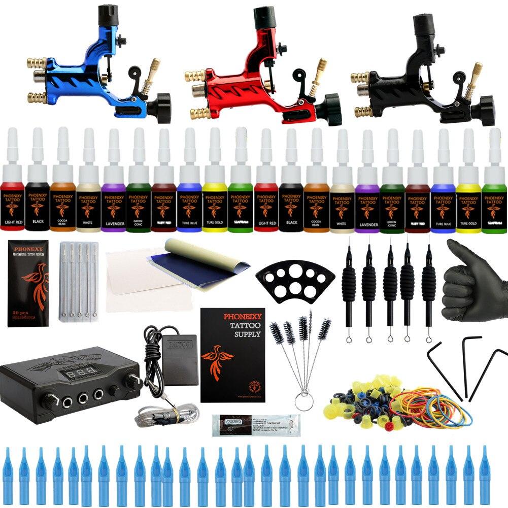 Professionnel De Tatouage Kit 3 machine rotative Pistolet Ensemble 20 Couleurs D'encre ensemble de pigments LCD alimentation accessoires de tatouage Set de tatouage