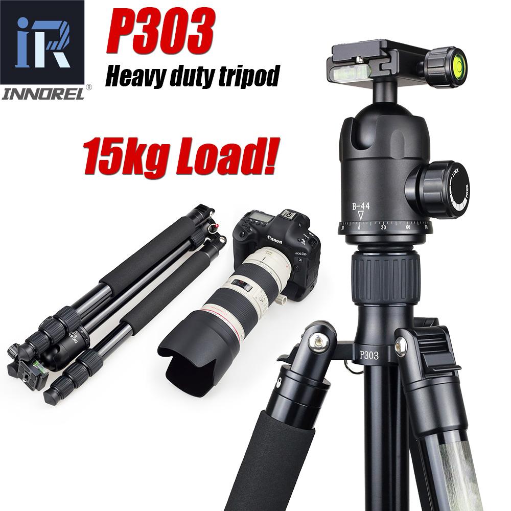Prix pour P303 Professional heavy duty trépied manfrotto pour dslr caméra stand tripode Max Charge 15 kg Max tube 28mm De Magnésium en Alliage d'aluminium