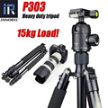P303 Professional heavy duty tripod monopod for dslr camera stand tripode Max Load 15kg Max tube 28mm Magnesium Aluminium Alloy