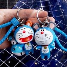 Cartoon Zodiac Doraemon Keychain Leather Rope Animal Key Rings Holder Car Bag Charms Pendant Porte Clef key chain
