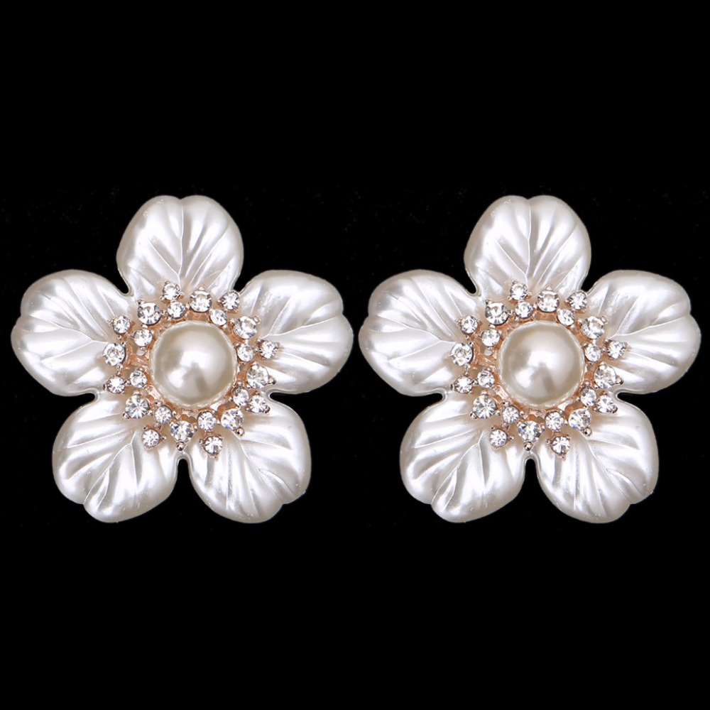 EYKOSI 2Pcs Flower Faux Pearl Rhinestone Embellishments Shoe Applique Clips Cloth Patch Shoe Decorations trendy faux pearl flower rhinestone shape cuff ring for women