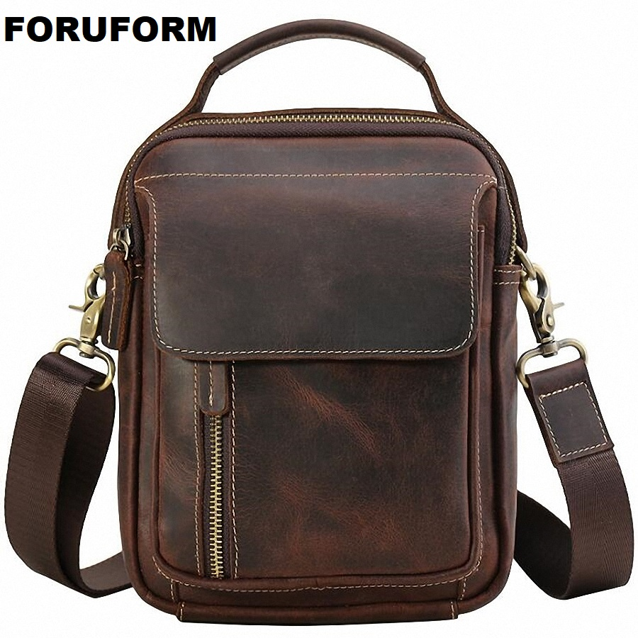 Crazy Horse Genuine Leather Mens Bags Male Crossbody Bags Small Flap Casual Messenger Bag Vintage Men's Shoulder Bag Skin L-2197 j m d crazy horse leather women flap messenger bag casual sling bag small lady purse c005b
