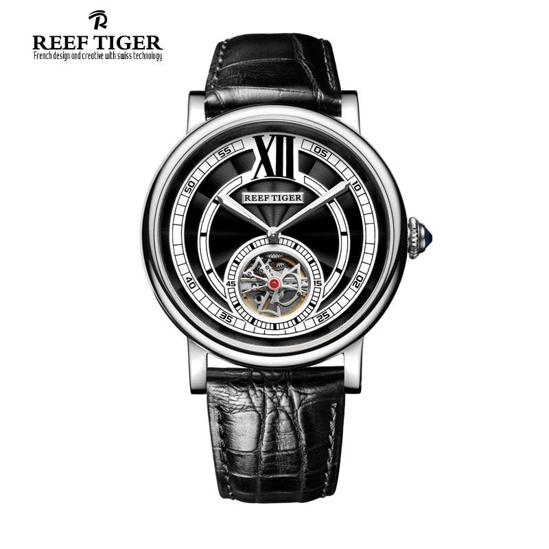 Reef Tiger RT Luxury Swiss Brand Mens Tourbillon Automatic 316L Steel font b Watches b font