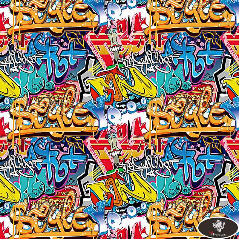 Dipping Hydrographics Film Water Transfer Printing Graffiti Pattern 0.5x5m AQUA