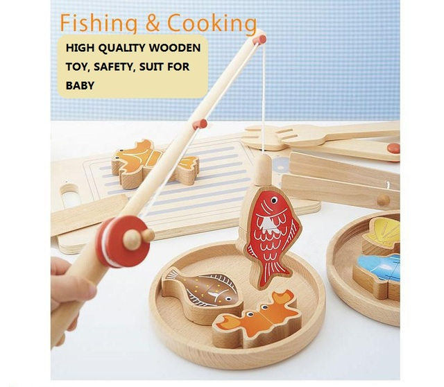 High quality Wooden Complete Set Of my cute little fishing and cooking Toy Early childhood educational toys poni Toys colorful