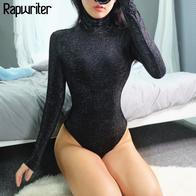 Rapwriter Sexy Solid Turtleneck Keep Warm Slim Glitter Bodysuits Women 2018 Autumn Winter Long Sleeve Bodycon Fitness Bodysuit