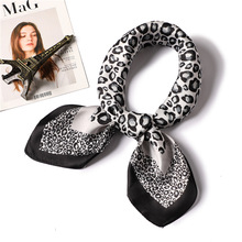 leopard print silk scarf square shawls fashion 2019 women hijabs neck scarves kerchief foulard