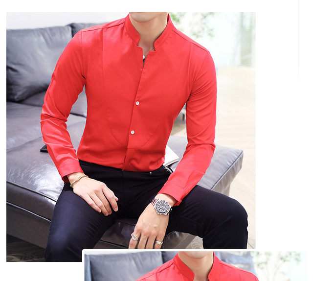 Fall Winter Stand Collar Mens Long-sleeved Dress Shirts Black Red White Slim Elegant Youth Male Business Wedding Formal Shirt 24