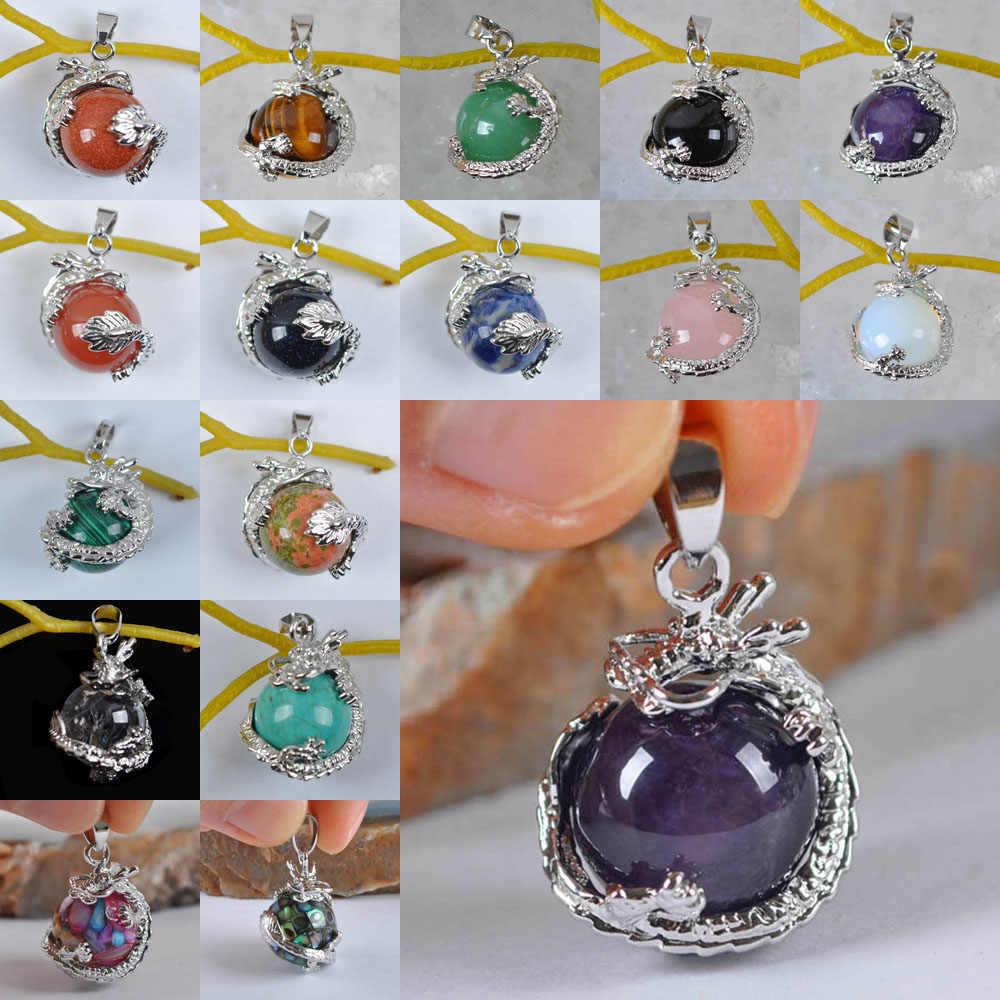 Carneool/Opal/Crystal/Tijgeroog/Malachiet/Sodaliet/Zandsteen/Unakite Epidote/Shell Hanger Draak sieraden Voor Vrouw Gift 1PCS