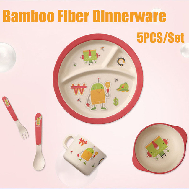 5pcs/set nature bamboo fiber Dinnerware cartoon dinner Tableware Baby bamboo plate set children tableware  sc 1 st  AliExpress.com : kids christmas dinnerware - pezcame.com