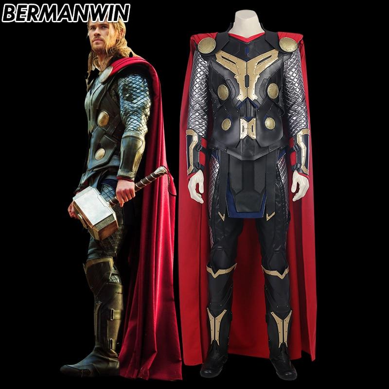 BERMANWIN High Quality Thor 2 Costume Thor Odinson Costume Adult Men Thor The Dark World Thor Costume Halloween Cosplay Costume