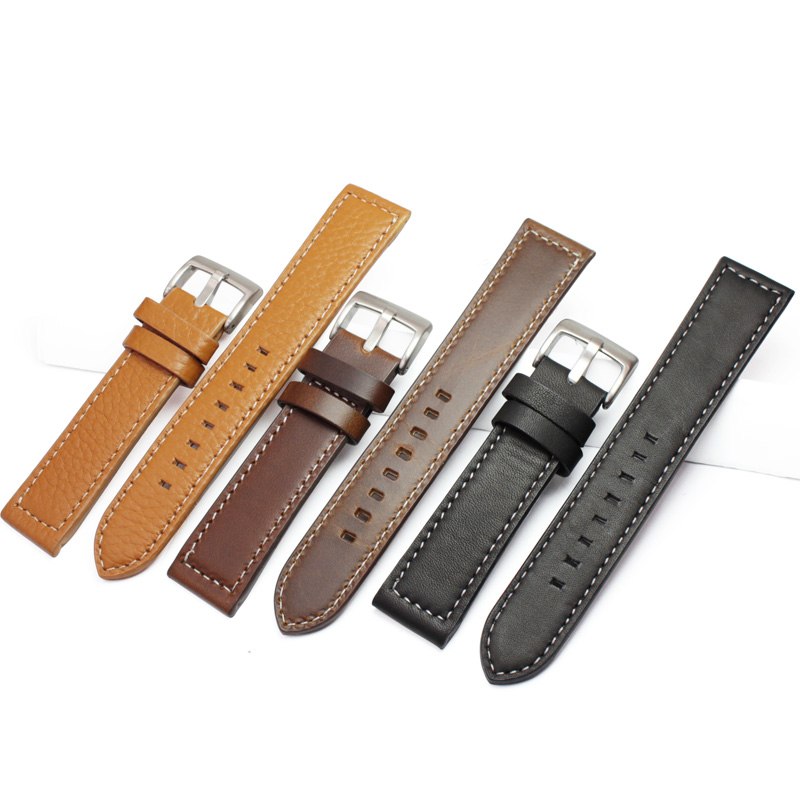 HENGRC Newest 18mm 20mm 22mm Genuine Leather Watchband Belt Manual Men Thick Brown Black Watch Band Strap Buckle Accessories high quality genuine leather watchband 22mm brown black wrist watch band strap wristwatches stitched belt folding clasp men