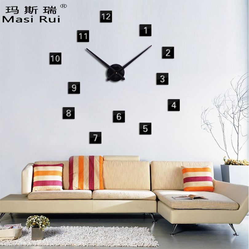 нови врућа продаја 3д велики зидни сат дии релој де паред модеран дизајн хорлоге мурале украсни сатови кварцни сат дневни боравак