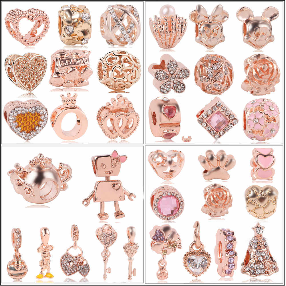 AIFEILI pasuje bransoletka typu charm Pandora kobiety prezent biżuteria nowy europejski różowe złoto drzewa miłości obecny kwiat korona klip koralik