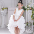 2015 new European girls Mermaid dress children Performance Princess Dress sleeveless V-neck white size for 4-14T Free shipping