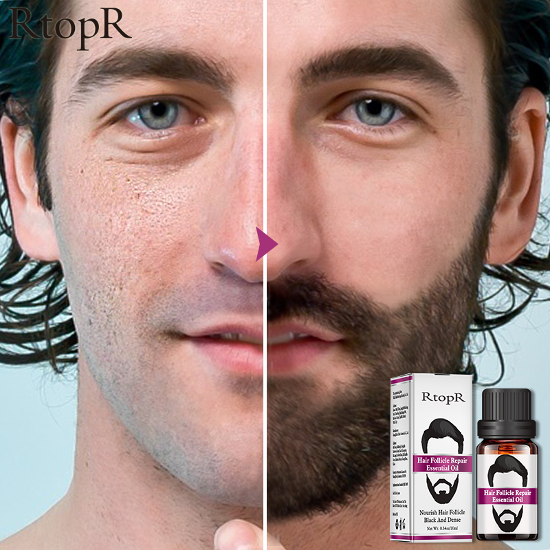 RtopR Hair Follicle Repair Oil Men Styling Moustache Oil Hair Growth Of Beard Body Hair Eyebrow Care Moisturizing Smoothing 10ml