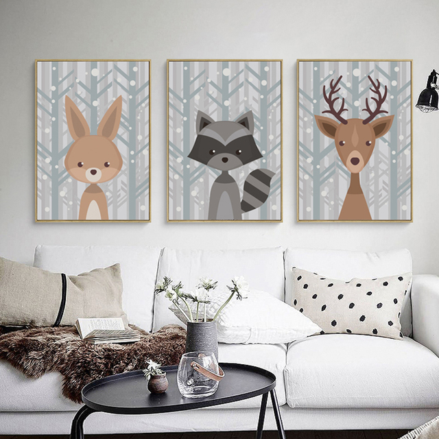 Cute Animal Deer Fox Canvas Painting Cartoon Poster Picture Wall ...