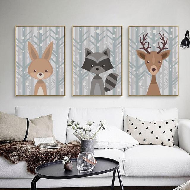 Niedlichen Tier Deer Fuchs Leinwand Malerei Cartoon Poster Bild ...