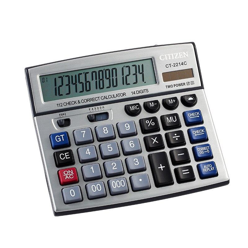 Escritório electronicscalculator dupla energia solar desktop calculadora 14 digital calcular escritório