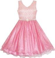 Sunny Fashion Flower Girl Dress Sparkling Pearl Belt Shrimp Pink Wedding Bridesmaid 2016 Summer Princess Party