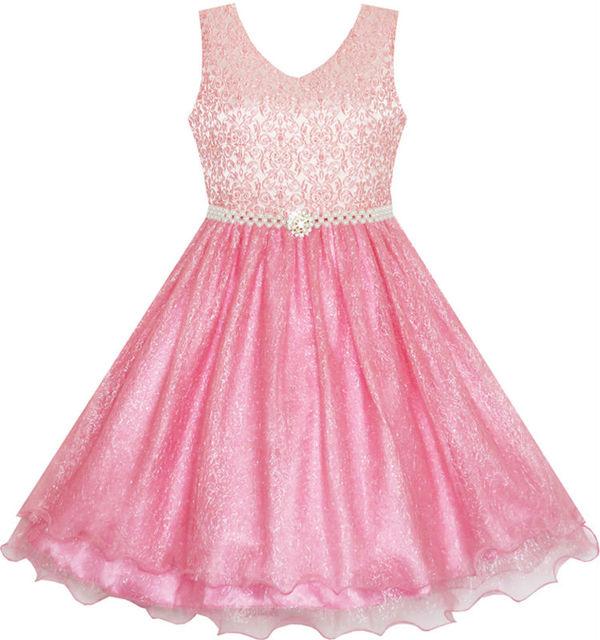 Sunny Fashion Flower Girl Dress Sparkling Pearl Belt Shrimp Pink Wedding Bridesmaid 2017 Summer Princess Party Dresses Size 3-14