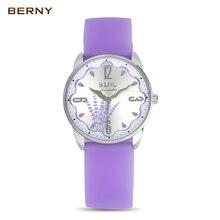 Brand BERNY Children's Watches Kids Quartz Watch Student Girls Silicone Flowers Digital Quartz-watch Colorful Strap Waterproof