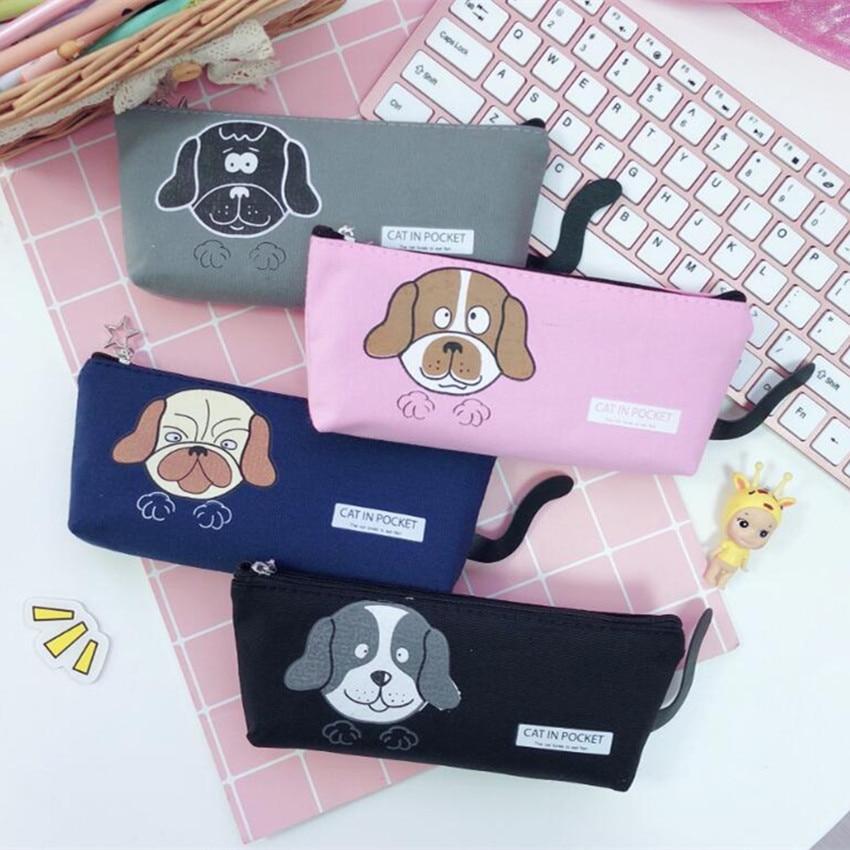 M283 Creative Women Purses Canvas Sweet Cartoon Dog Coin Purse Pen Bag Women Girls Gifts Wholesale