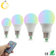 1Pcs E27 LED RGB Bulb lamp AC220V 3W 5W 7W 9W LED RGB Spotlight dimmable magic Holiday RGB lighting+IR Remote Control 16 colors