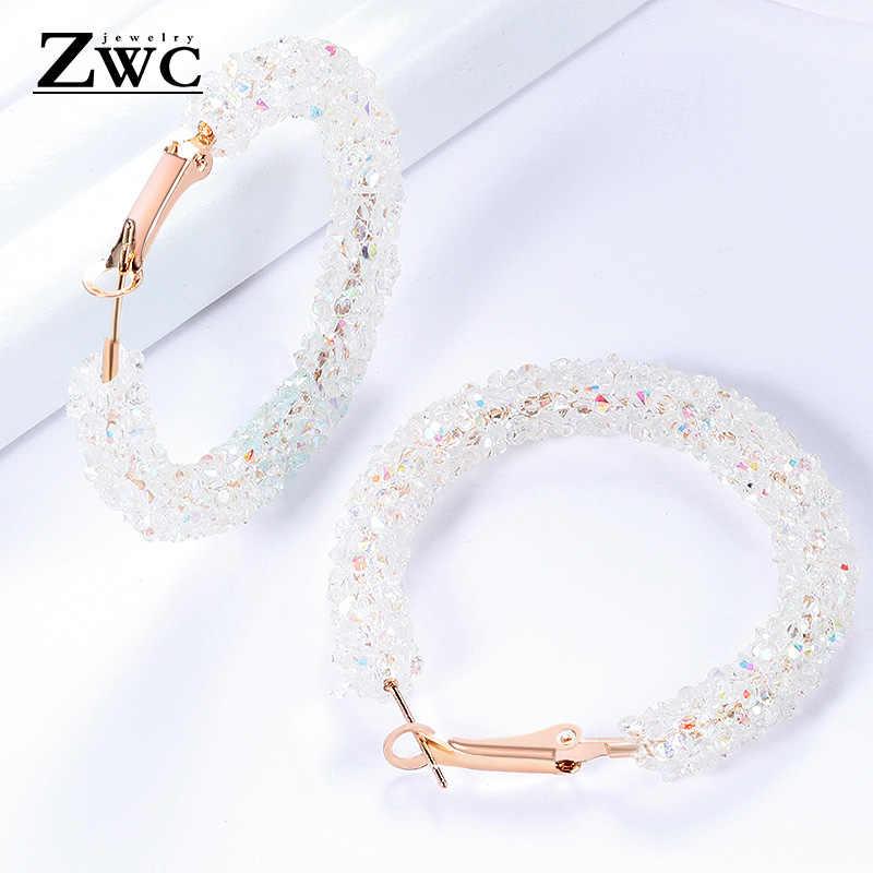ZWC Vintage koreański duże kolczyki dla kobiet kobieta moda złota cyrkonia wypadnij zwisają kolczyki geometryczne kolczyki biżuteria 2019