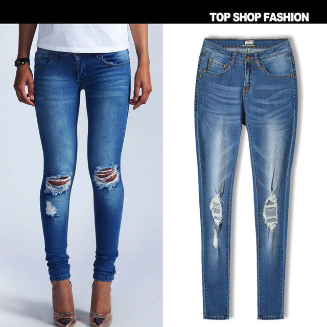 Hot Fashion Ladies Cotton Denim Pants Stretch Womens Bleach Ripped Knee Skinny Jeans Hole Denim Jeans For Female