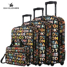 DAVIDJONES 4 Piece Luggage Sets fixed wheehs trolly suitcase