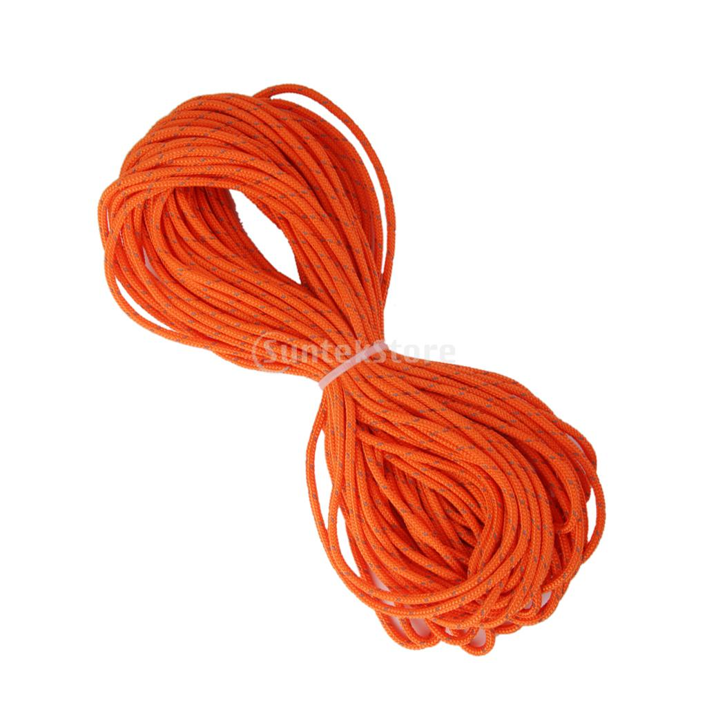 3mm Orange Reflective Tent Guy Line Rope Camping Cord Paracord 20M
