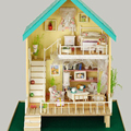 Free Shipping Diy Doll house The pastoral song mu dollhouse toy handmade  wood gift model To send a pair of little bear