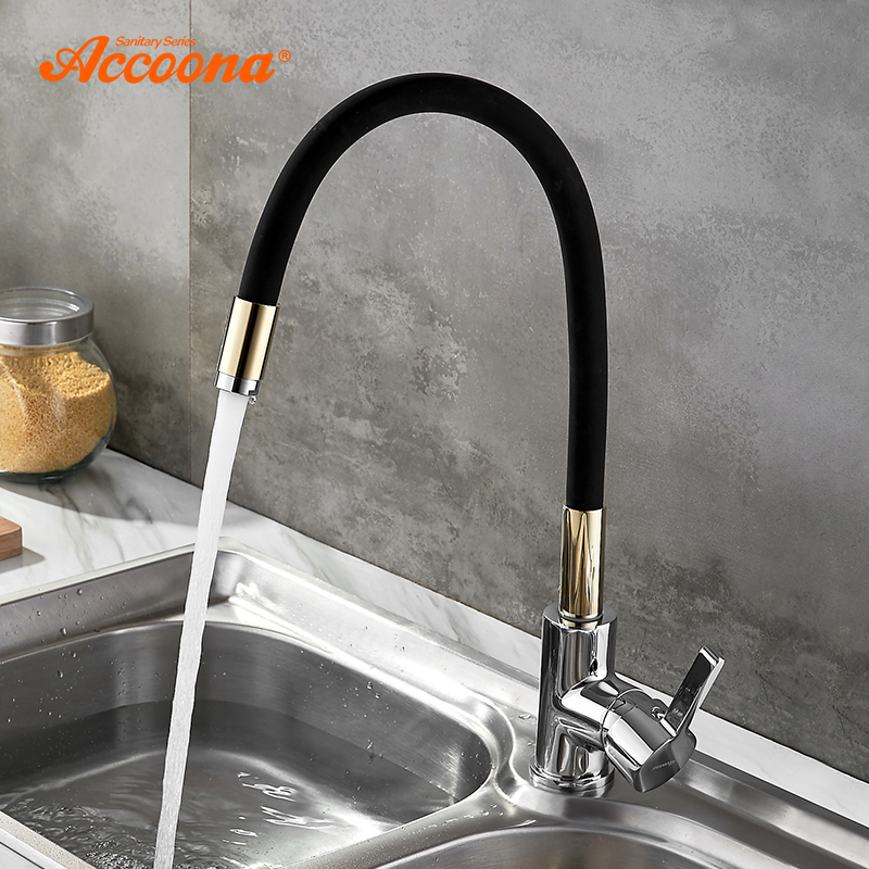Accoona Silicone Tube Kitchen Faucet Brass Pull Out Mixer Tap Sinks Single Handle Deck Mounted Hot And Cold Water Faucet A9890 цена 2017