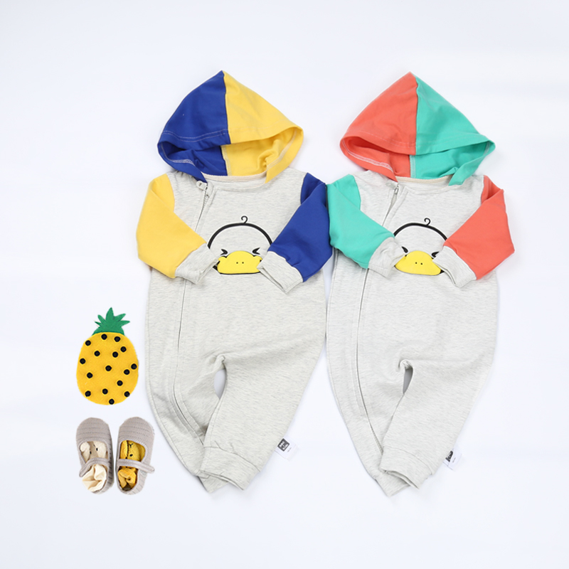 Baby Rompers Spell Color Hooded Boys Girls Jumpsuit Newborn Zipper Clothing Toddler kids Clothes Cute Duck Romper Baby Costumes newborn infant baby boys girls kids clothing cotton romper jumpsuit colorful warm zipper rompers baby girl clothes outfit