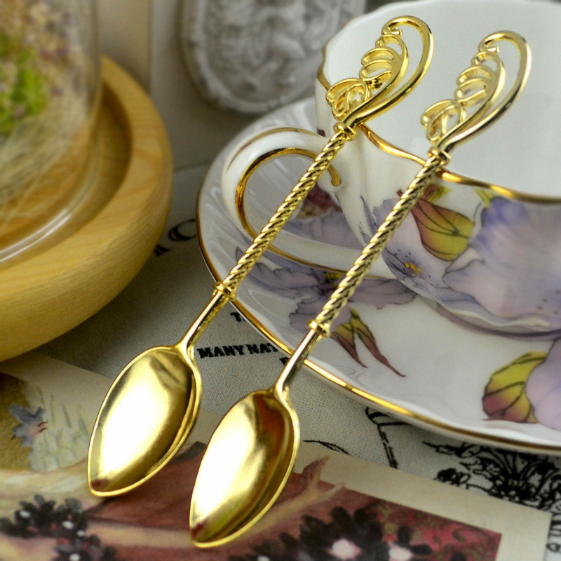 1 PC 11.2*2.2 Cm European Style Spoon Coffee Tea Milk Dessert Spoon Vintage Feather Wing Wand Gold Color Wedding Gift Home Use