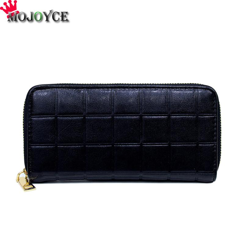 Korean Women PU Leather Plaid Purses Ladies Zipper Long Wallets Coin Bag Clutch Female Elegant Long Purse Wallet Phone Clutch