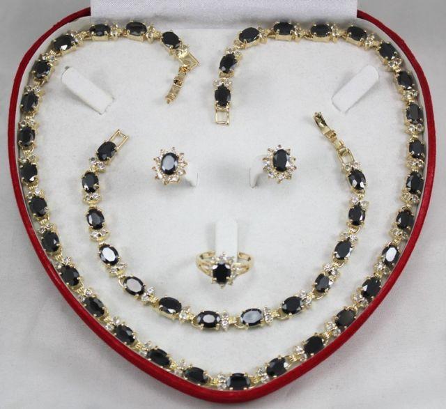 Vente chaude Noble-vente chaude nouvelle-Livraison shippingwomen bijoux ensemble noir cristal collier bracelet boucle d'oreille anneau (A0425)