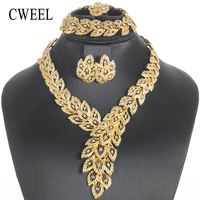 CWEEL Fashion Jewelry Sets African Nigeria Beads Dubai Gold Color Women Wedding Bridal Turkish Choker Costume