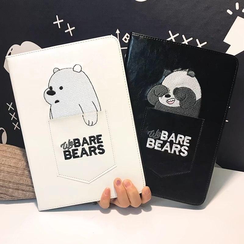 Embroidery Pocket Naked Bears Luxury Fold Bracket Cute Tablet Case For Ipad 2/3/4 Smart Wake Up/Sleep