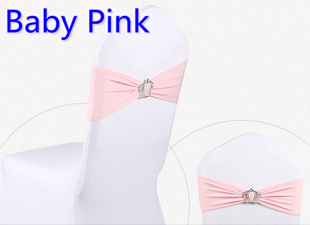 Baby pink colour Crown buckle lycra sash for wedding chairs decoration spandex band stretch bow tie lycra ribbon belt on sale