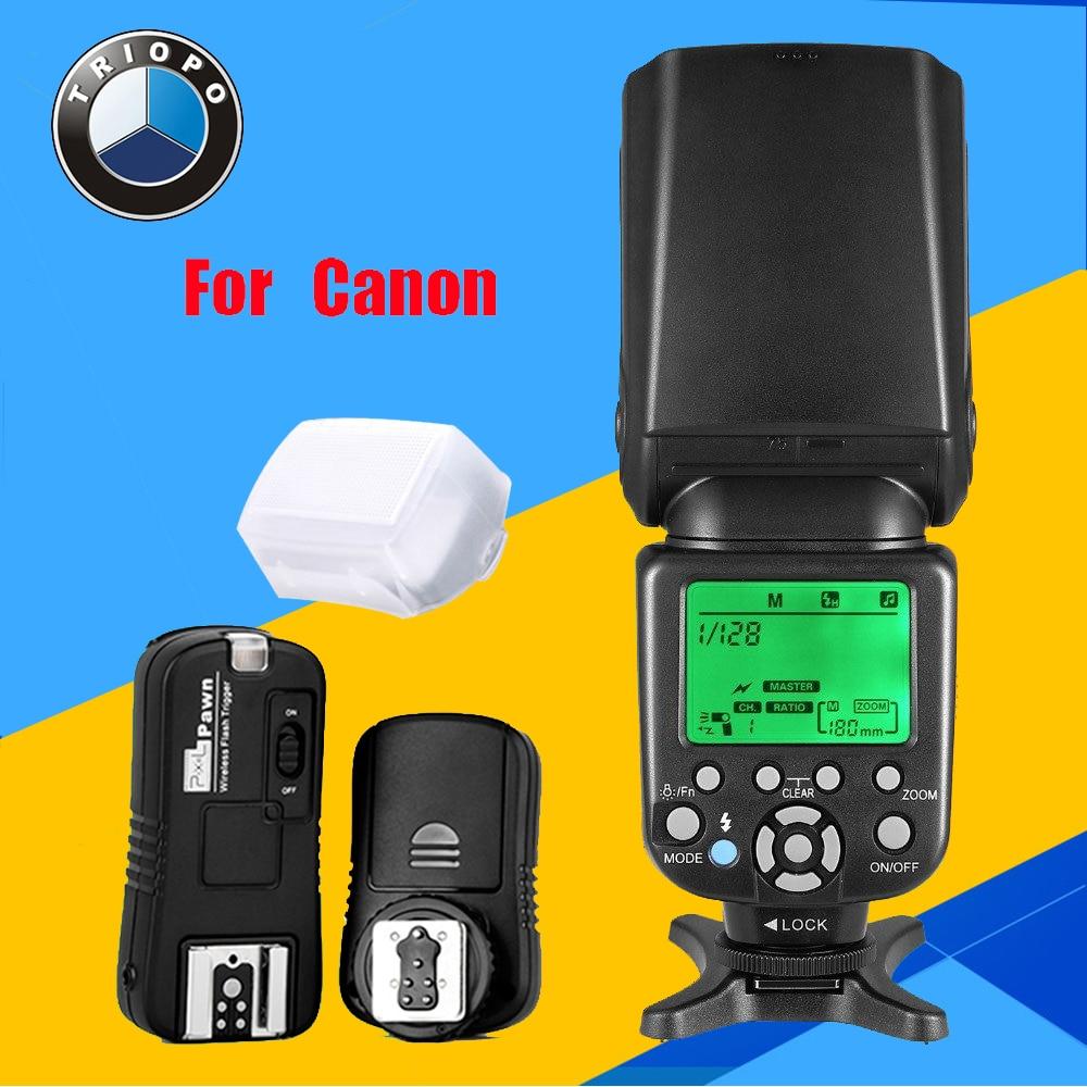 TRIOPO TR-586EX C Wireless TTL Flash Speedlite + Pixel TF-361 Flash Trigger for Canon EOS 5D Mark II 5D3 7D 6D 70D 650D 5D3 60D kingma lp e6 full decoded 1600mah battery for canon eos 5d mark ii 7d 60d 5d mark 3 6d 70d
