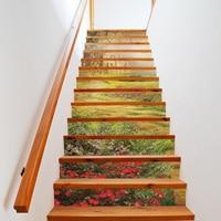 13Pcs/Set 3D Stair Wall Stickers Art Stair Sticker PVC DIY Steps Sticker Wall Decal Mural Wallpaper Removable Decals Home Decor