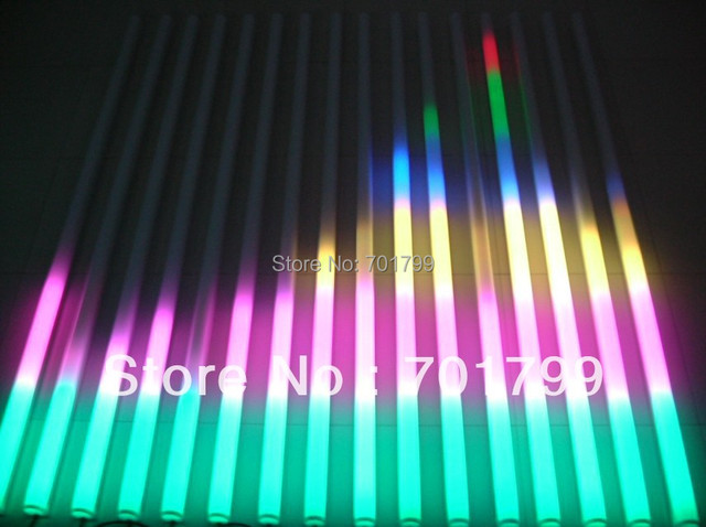 milky 1m long TM1812 controlled LED full color video tube,16segments(16pixels),DC12V input,IP68 rated,with plastica base