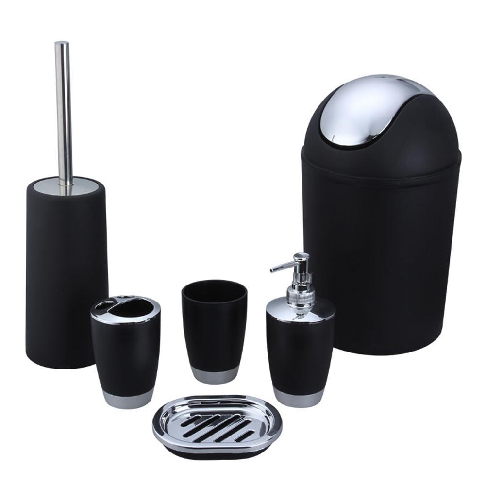 6PCS Bathroom Accessory Set Washing Tools Bottle Mouthwash Cup Soap ...