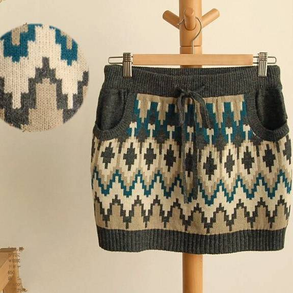 Vintage Geometric Pattern Mini Short Knitted Skirt Winter Mori Girl