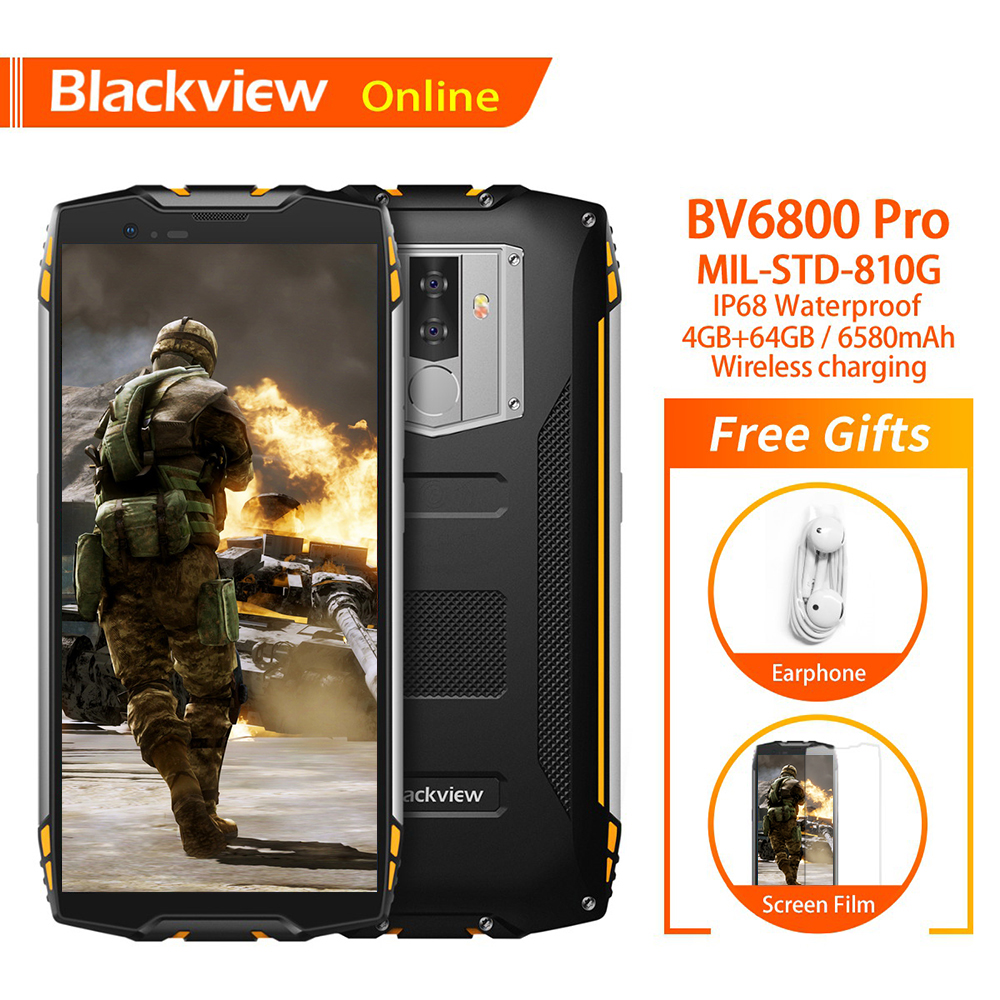 Blackview Original BV6800 Pro 4GB+64GB 5.7 Waterproof Smartphone 18:9 Screen 6580mAh Android 8.0 Wireless Charging Mobile Phone
